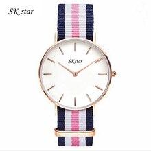 Nylon bracelet montre à quartz amateurs occasionnels nouvelle mode marque DW YBA mince or argent cadran hommes et femmes montres à quartz