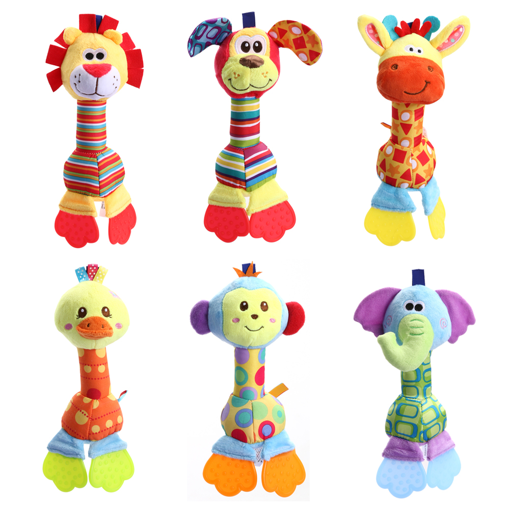 Djurfyllda leksaker för barn Handbell Babyratlar Plysch Toy Mobiles Sounding Educational Stuffed Toy Playmate Teether