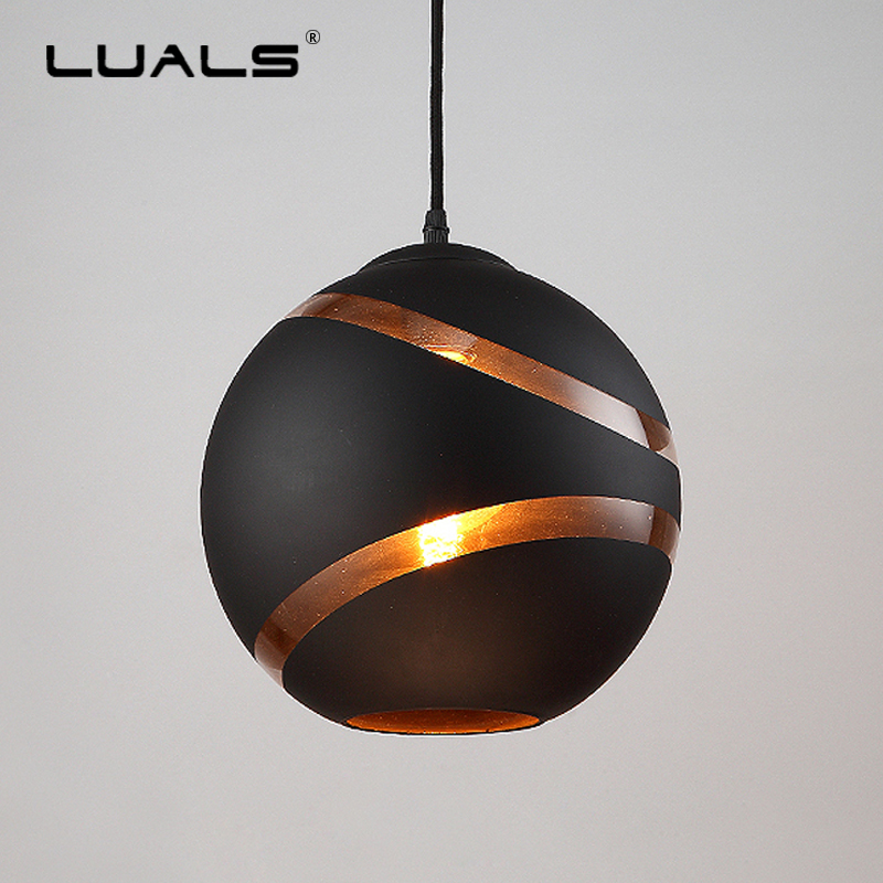 Nordic Hanging Lamp Iron Globular Suspension Luminaire Modern Pendant Light Edison Lights Art Glass Lamp Shade Pendant Lighting