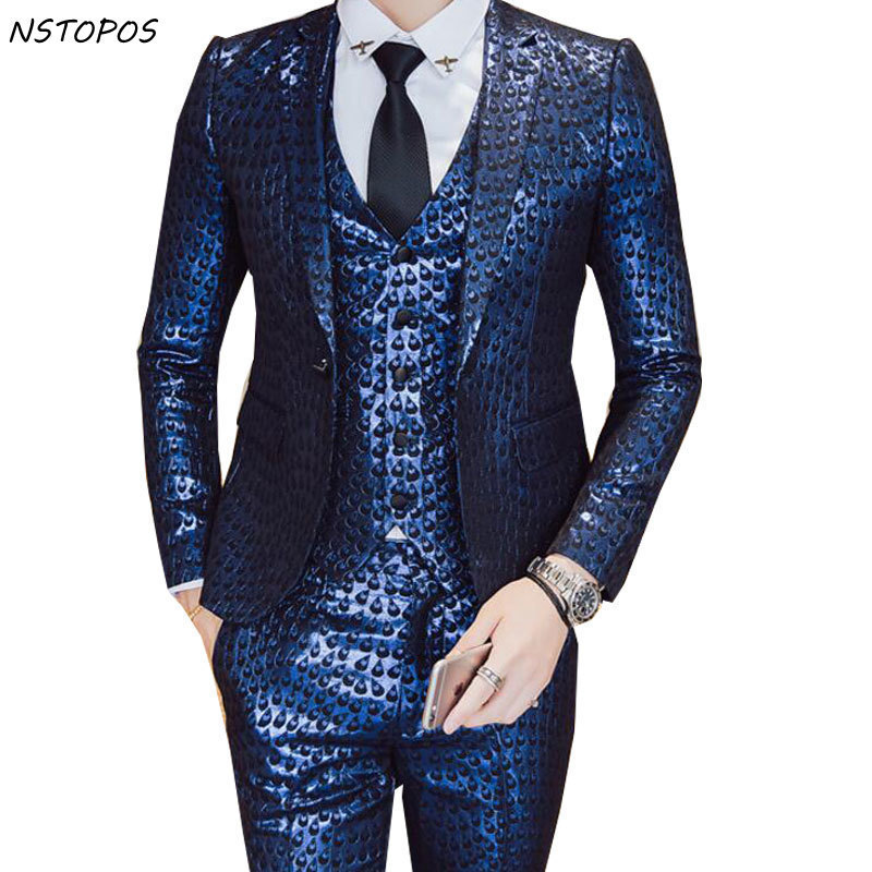Luxury Baroque Suit Gold Blue Tuxedo Jacket+vest+pant Smoking Homme Costume Mariage Homme Party Wedding Stage Clothing 3XL