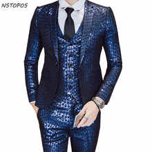 Luxury Baroque Suit Gold Blue Tuxedo Jacket+vest+pant Smoking Homme Costume Mariage Homme Party Wedding Stage Clothing 3XL - DISCOUNT ITEM  47% OFF All Category
