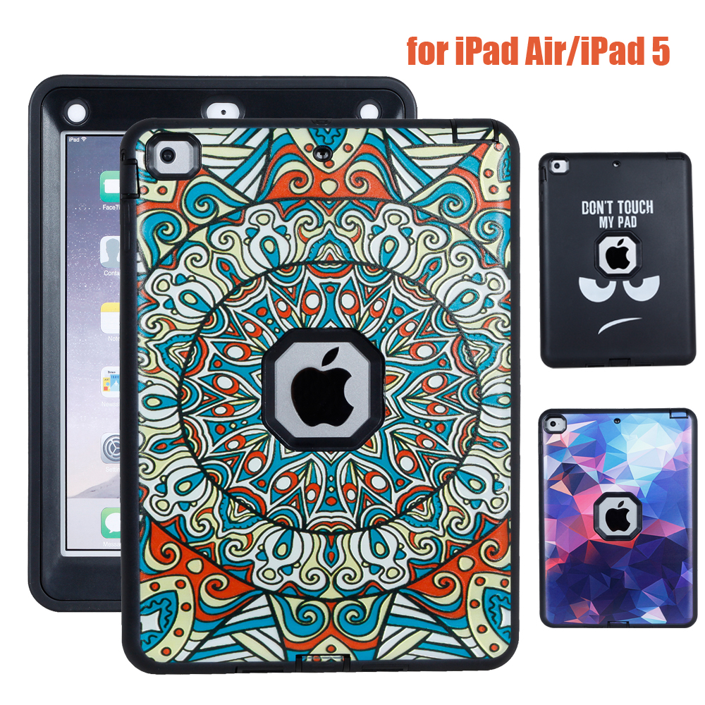 Чехол для Apple iPad Air1 iPad 5 живописи Дизайн Планшеты В виде ракушки Baby Safe противоударный Heavy Duty Силиконовый Футляр Чехол + Стилусы ручка