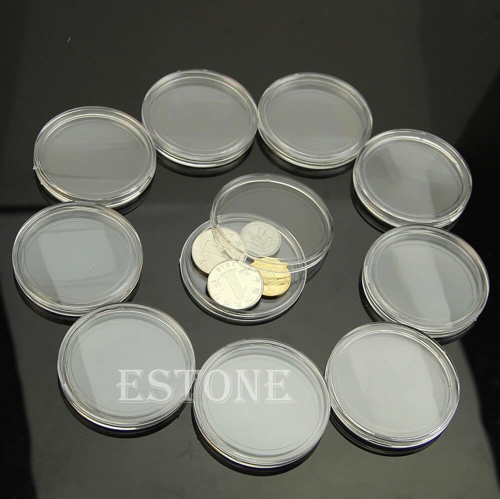 10pcs 40mm cas clairs rondes Numismatique stockage Capsules Holder Plastic Round