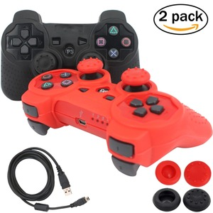 blueloong 2pcs Black and Red Color Wireless Bluetooth Joystick Gamepad For Playstation 3 PS3 Controller + Free Shipping
