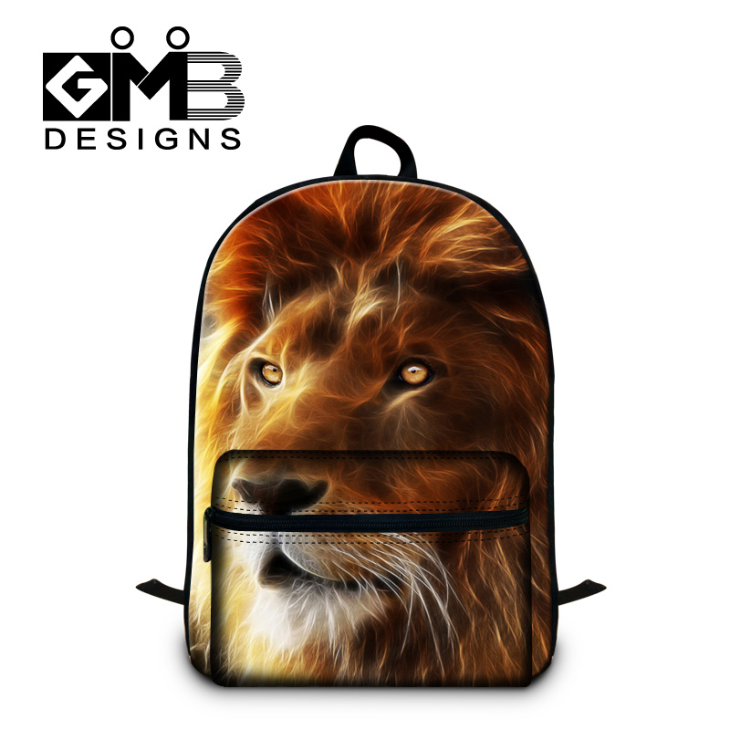 Cool Lion 3D printing school backpacks for students fashion boys lightweight Illustration back pack cute bookbags for teenager