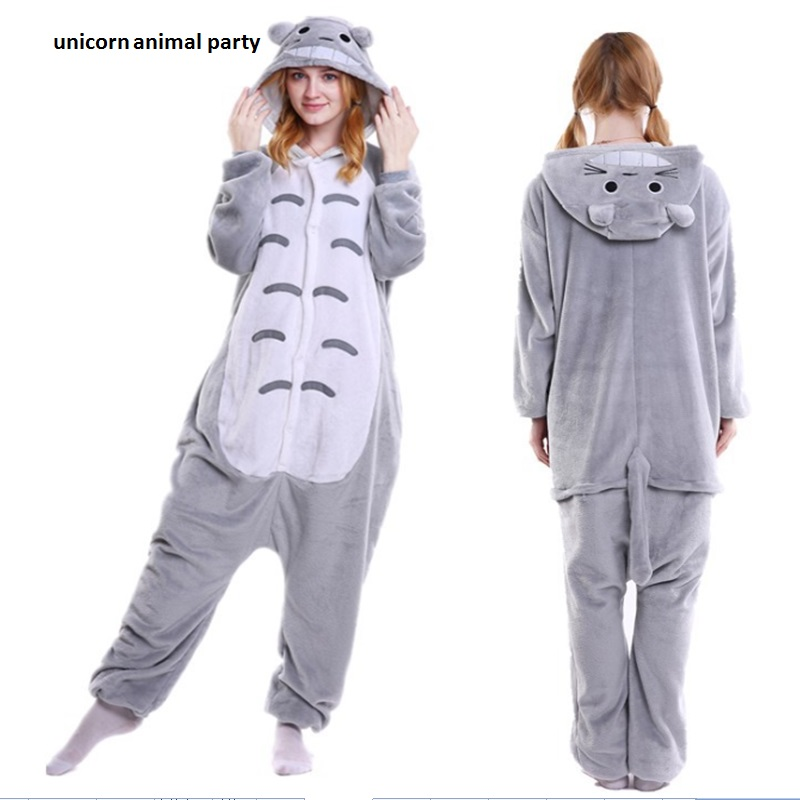 Totoro Cartoon Animal Conjoined Kigurums Nya Winter Anime Pyjamas Vuxen Onesie Animal Cosplay Barn Pyjamas Sleepwear Kostym