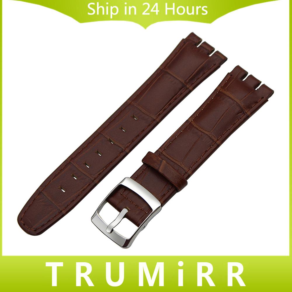Prix pour Top Couche Véritable Bracelet En Cuir 17mm 19mm 20mm pour Swatch hommes Femmes Bande de Montre Croco Grain Bracelet Poignet Bracelet Noir brun