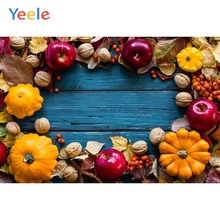 Yeele Wooden Board Pumpkin Apples Walnut Leaves Food Thanksgiving Photography Background Photographic Backdrops for Photo Studio