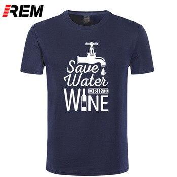 Save Water Drink Wine Printed T Shirt