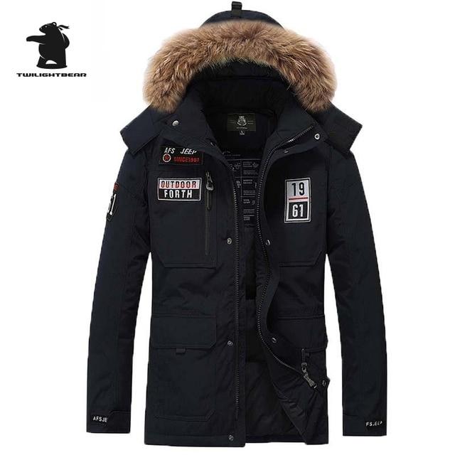 2016 New Brand men's down coat Winter Fashion Fur Collar Top Quality White duck Thicken Plus Size Down Jacket Coat Men D16F8820A