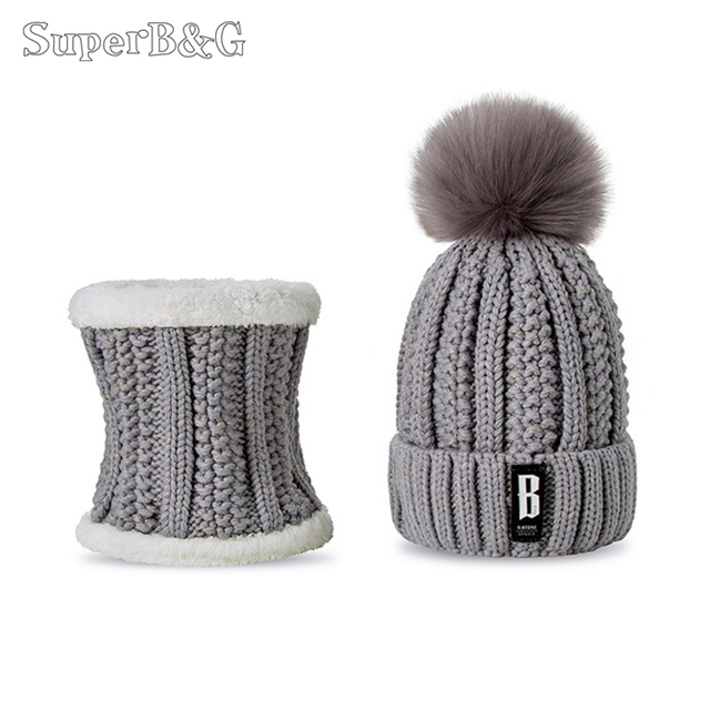 ada7dd9118f26 SuperB G Set Winter Hat And Scarf Women Soft Beanies Hat Pompoms Hat  Scarves Female Winter Hat Scarf 2 Pieces Solid Color