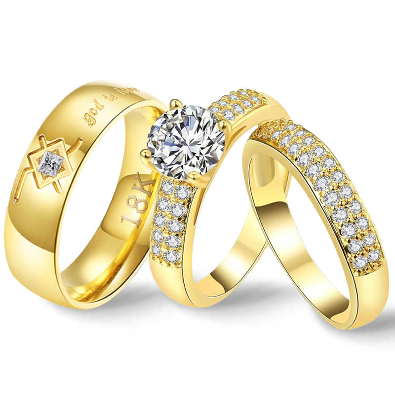 Wedding Rings Couple Bible CZ Stone Crystal Rings Set for Women Godly Jewelry Stainless Steel Ring God Is Love Lord of the Rings