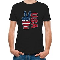 Printed tee shirt design 4th Of July USA Flag Peace Hand Independence Day Cool T-Shirt Circle t shirt designers