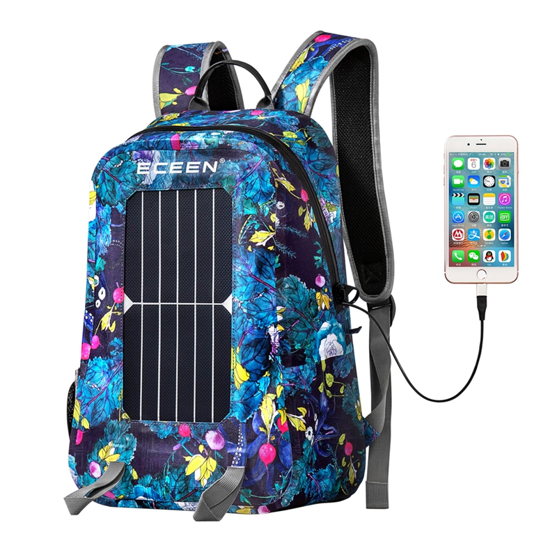 IPX8 Waterproof Nylon 17L 7W Cycling Climbing Hiking Travel Solar Power Backpack with Solar Panel Bottle Bag