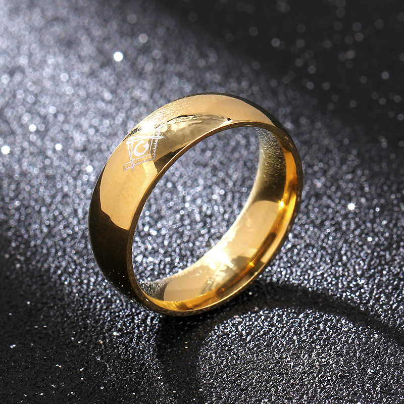 6mm Freemasons Ring Masonic Black Rings For Men Women Gold Silver Black  316L Stainless Steel Charms Jewelry
