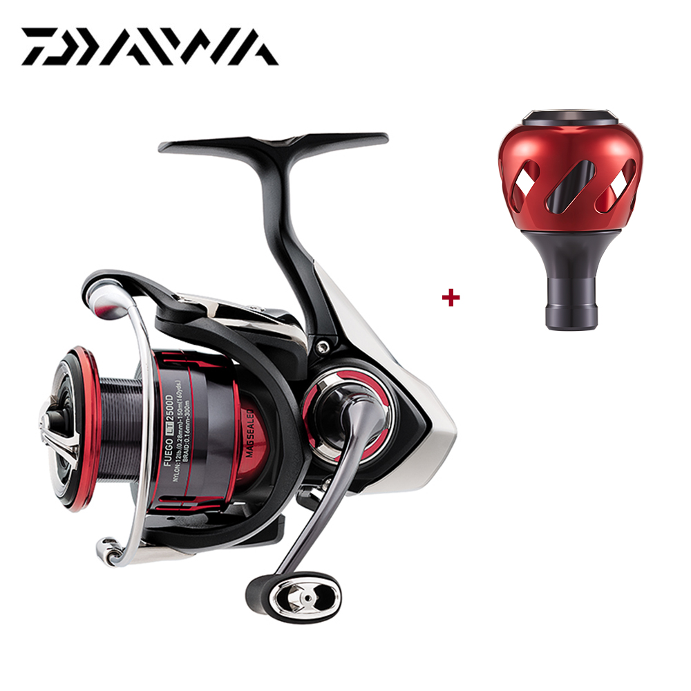 Daiwa 2018 New FUEGO LT Spinning Reel With Extra Handle Knob 7 Ball Bearings 5.2/5.3 Gear Ratio Carbon Light Tough Fishing Reel new tsurinoya spinning fishing reel 10 ball bearings 5 2 1 ratio lightweight reel moulinet free shipping reel 175g weight fs800