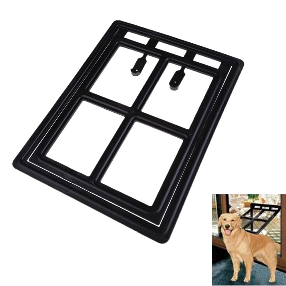 Superior dog door cat Plastic Black Dog Cat Kitty Pet Door for Screen Window Gate for Ho ...