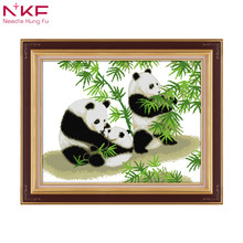 Panda--national treasure Chinese print pattern cross stitch embroidered needlework diy kits counting canvas dmc 14ct