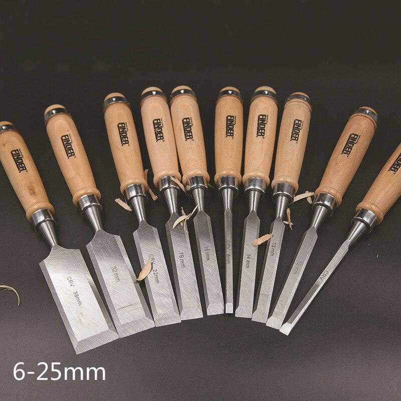 цена на 9 Pcs/set 6-25mm Flat Woodworking Chisel Tool Set Professional Wood Carving Knife Hand Tools for Carving Enthusiasts
