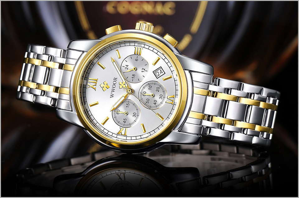 New Gold Quartz Wristwatch Men Watches Top Brand Luxury Stainless Steel Male Wrist Watch Golden Clock Relogio Masculino (4)