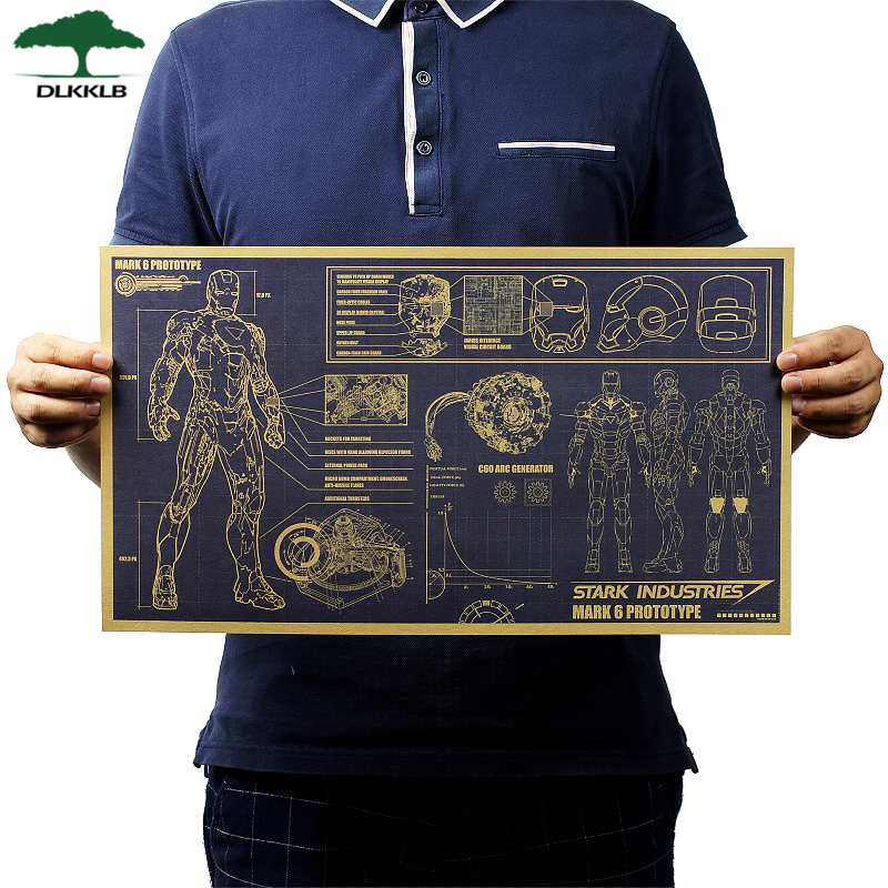 Dlkklb Movie Poster Adornment Picture Iron Man Design Drawings Nostalgic Retro Kraft Paper Bar Decoration Wall Stickers 51x29cm