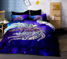 3PCS 3D Digital Printing Rainbow Unicorn Fairytale with Sparkling Stars Bedding Sets 100% Microfiber Black Background