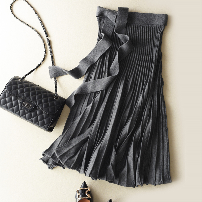 JECH New Fashion Spring Cashmere Wool Women Solid Color Skirts Mid-Calf Length Pleated Winter Autumn Female High Waist Skirt