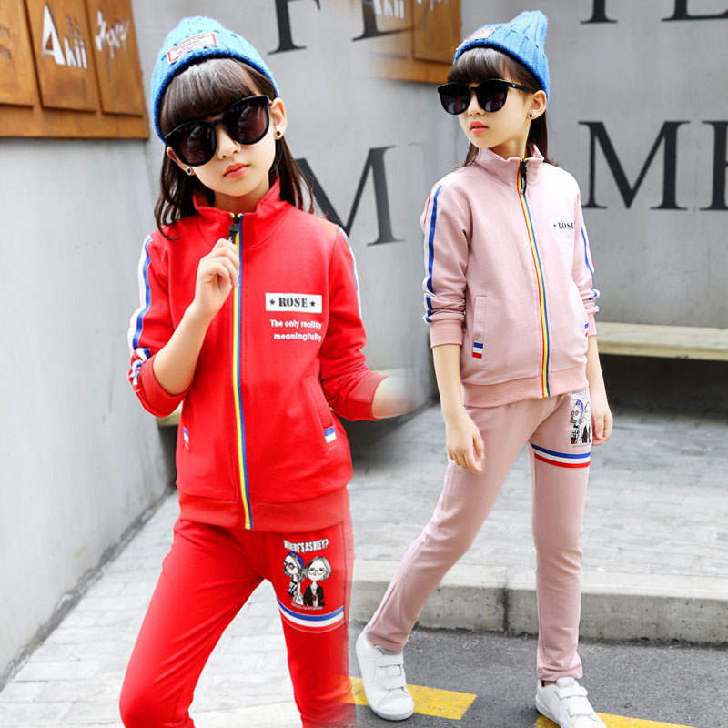 Spring Autumn Big Girls Clothing Sets Cartoon Sports Suits For Teenage 2 Peice Kids Outfits Sportswear 3 4 6 8 10 12 Years girls sports suits graffiti letter clothing sets for girls tracksuits cotton spring sportswear outfits 4 5 6 7 8 9 10 11 12 year