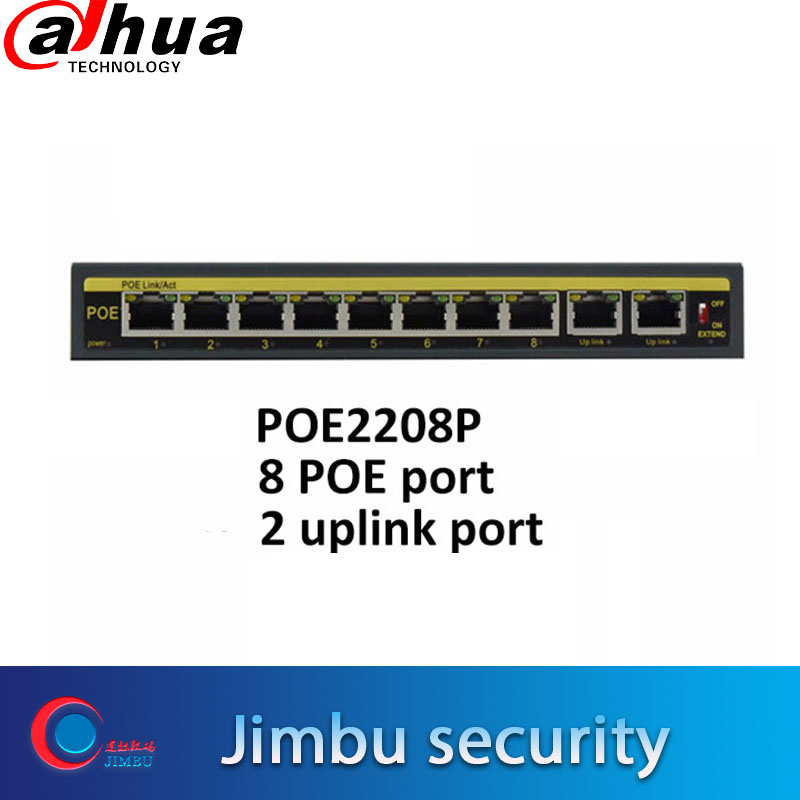 Security Camera 10-Port 10/100 Mbps POE Switch POE8808P 100m Distance IEEE 802.3af Including Power Adapter