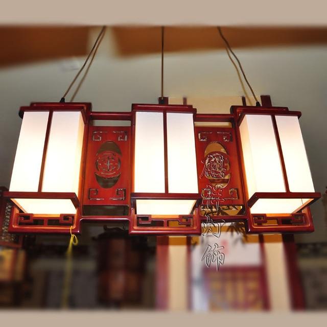 Chinese stijl hanger lamp hout schapenvacht lampen klassieke ...