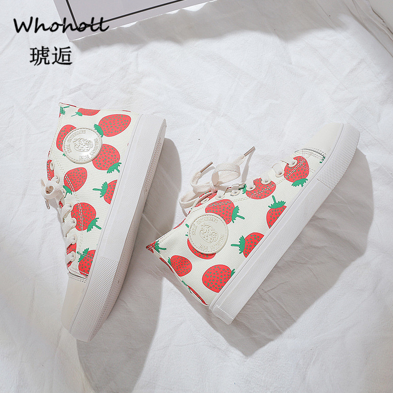Whoholl Canvas Shoes for Women Sneakers Strawberry Print Vulcanize Shoes for Girls Female Shoe Woman Zapatillas Mujer Size 35 40 in Women 39 s Vulcanize Shoes from Shoes