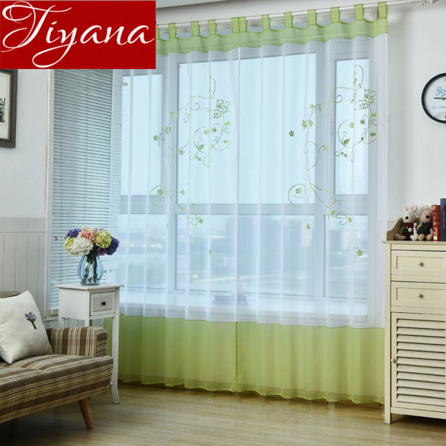 Short Curtain Green Sheer Voile Window Kitchen For Modern Living Room Cafe One Panel Rustic