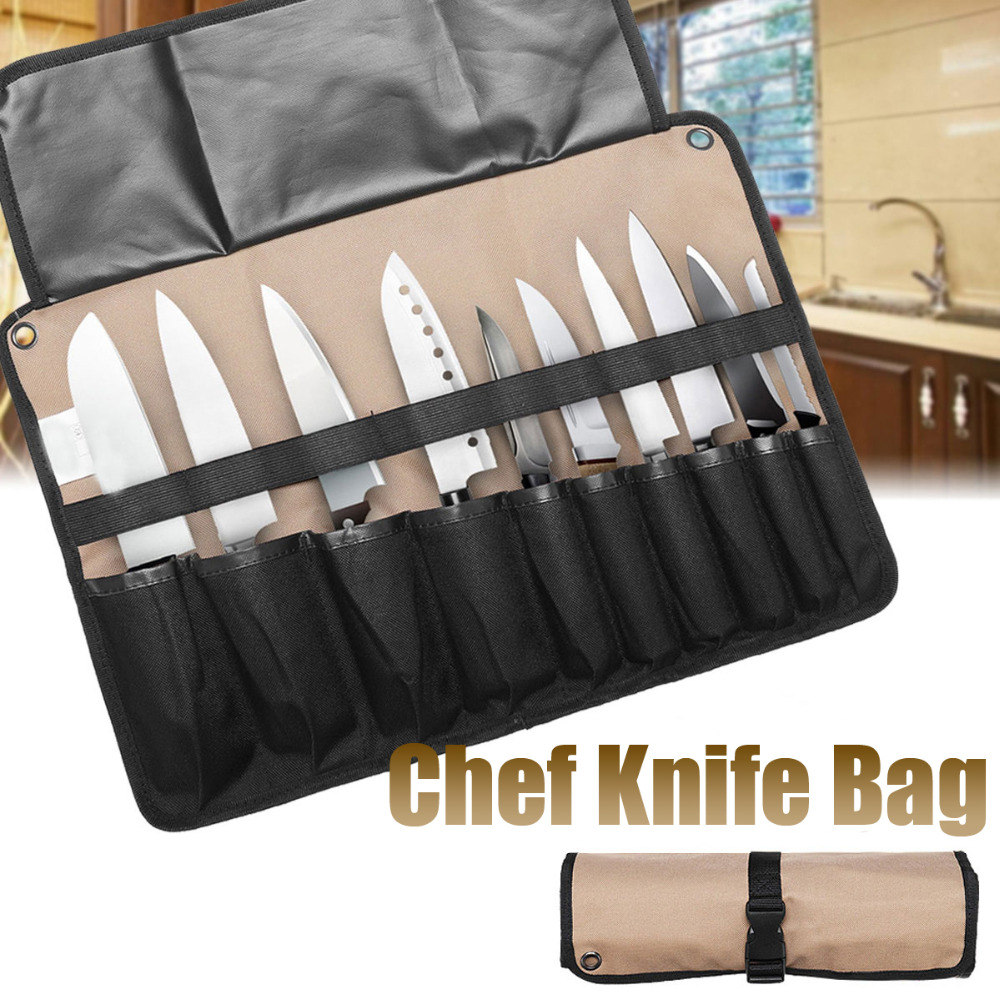 Coffee Portable Chef Knife Bag Roll Bag Carry Case Bag Kitchen Cooking Tool Portable Storage Bag 10 Pockets Home Garden