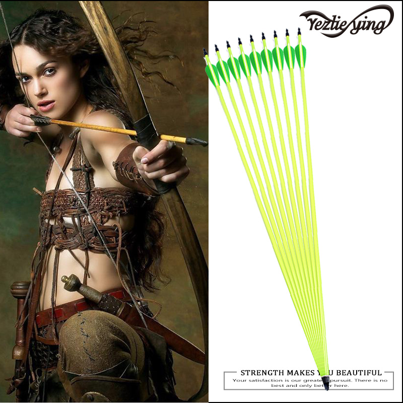 6PCS High Quality Yellow Carbon Arrow 30 Inch Green White Feather For Composite / Recurve Archery Shooting