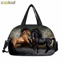 Horse Print Men Travel Bags Pirate Sailboat Retro Handbags Shoes Holder Animal Print Multifunctional Adult Travel