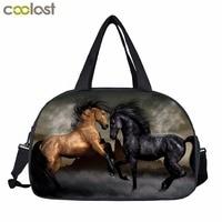 Horse Print Men Travel Bags Pirate Sailboat Retro Handbags Shoes Holder Animal Print Multifunctional Adult Travel
