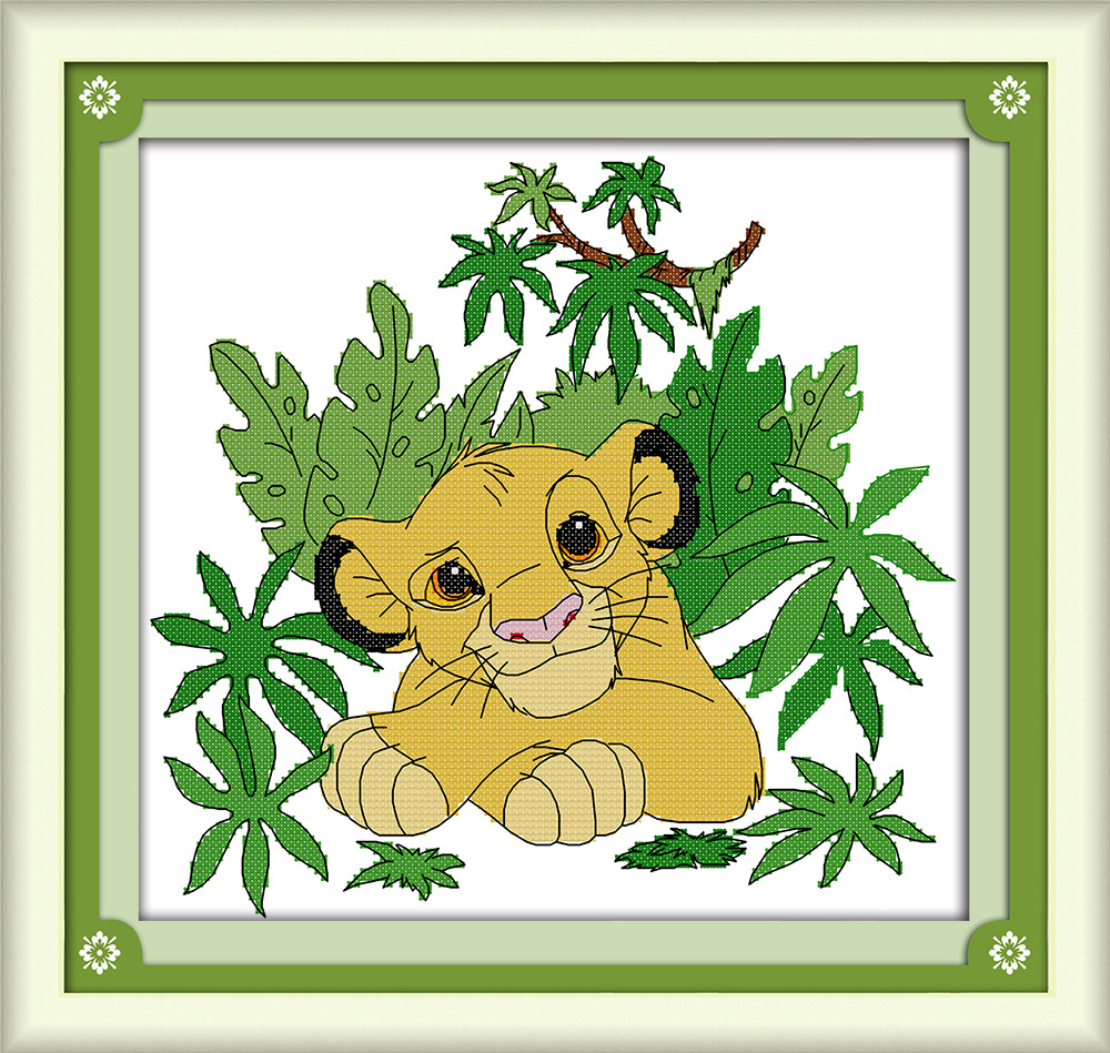 Lion In The Trees Canvas DMC Counted Cross Stitch Kits Printed Cross-stitch Set Embroidery Needlework