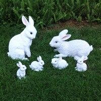 Green Ornament Hand White Rabbit Bunny Resin Figurine Gift for Friend Home Decor Micro Landscape Fairy Garden