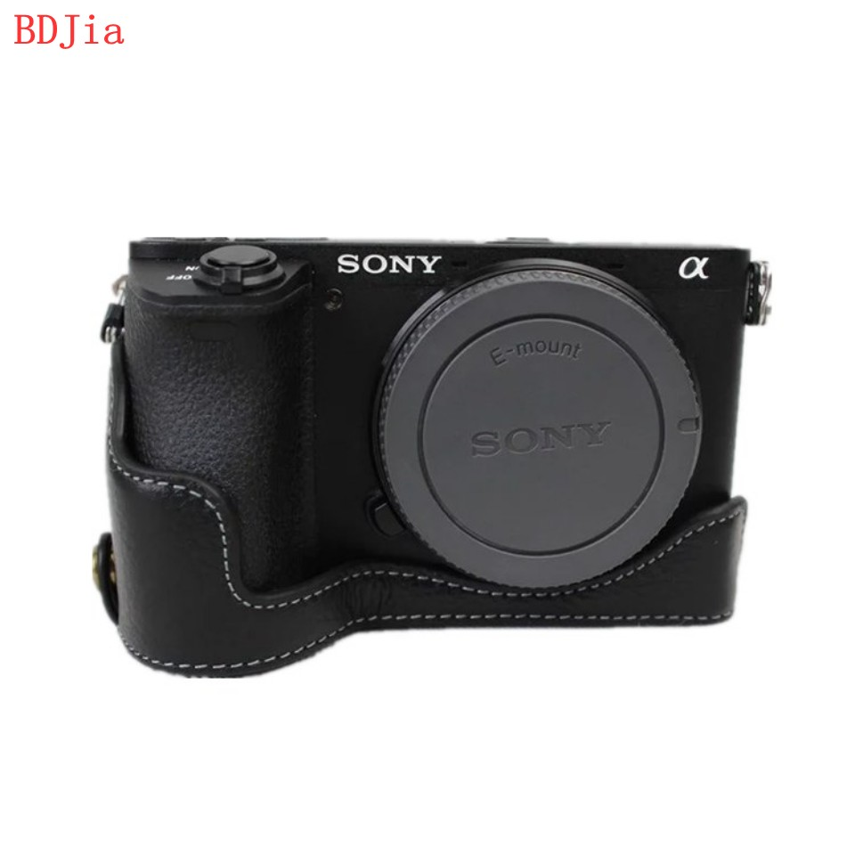 Genuine Cowhide Leather Half Body <font><b>Camera</b></font> Case Base For <font><b>Sony</b></font> ILCE-<font><b>6500</b></font> A6500 With Battery Opening,Free Shipping image