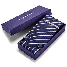 Gift box Classic 8cm Wide Tie Sets Black/blue/red Mens Neck Hankerchiefs Cufflinks &Tie clips  polyester silk handmade