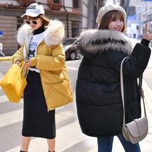 Winter Jacket Women New 2019 Coats Artificial Raccoon Hair Collar Female Parka Black Thick Warm Down Cotton Padded Lining Ladies цены онлайн