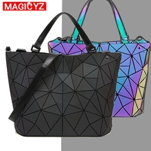 Women's Diamond Geometric Deformation Tote Bag Irregular Folding Shoulder Bag Holographic Laser Luminous Bucket Bag
