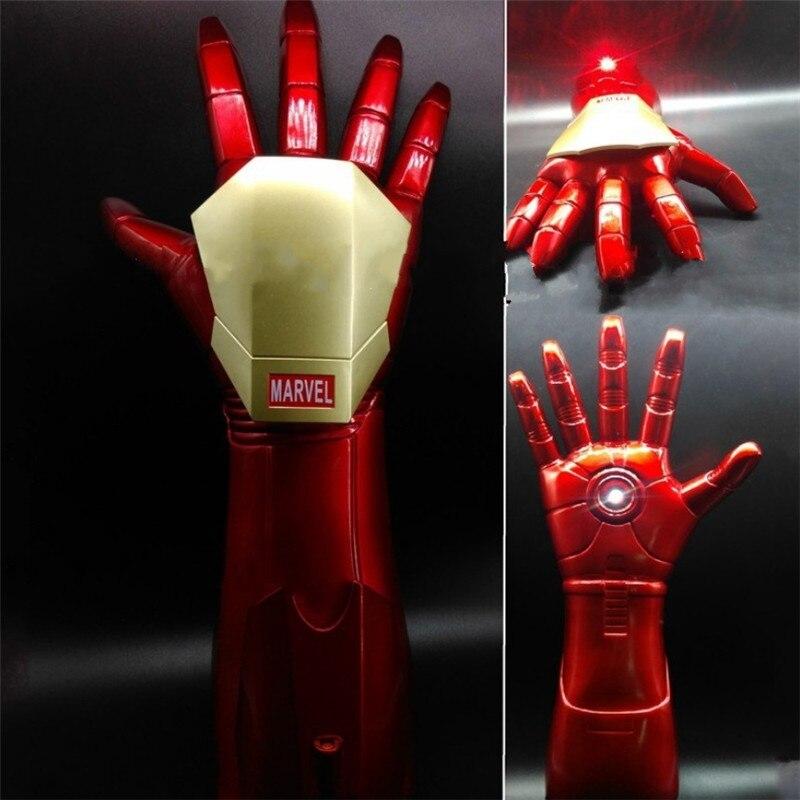 1:1 échelle fer homme lumière LED portable gants bras Figure modèle jouet gant Cosplay Costume fête enfants cadeau jouets