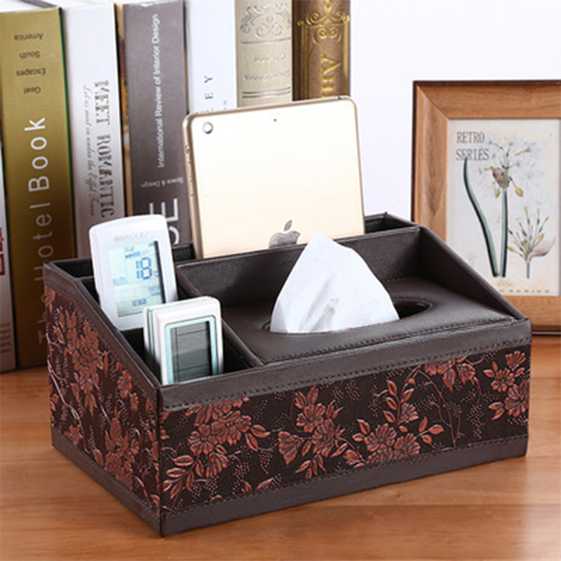 QQJJMulti-function PU leather pen holder mobile phone remote control storage box tissue bracket desk decoration