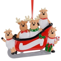 Resin Reindeer Family Sled Family Of 5 Christmas Ornaments Personalized Gifts For Holiday Or Home Decor