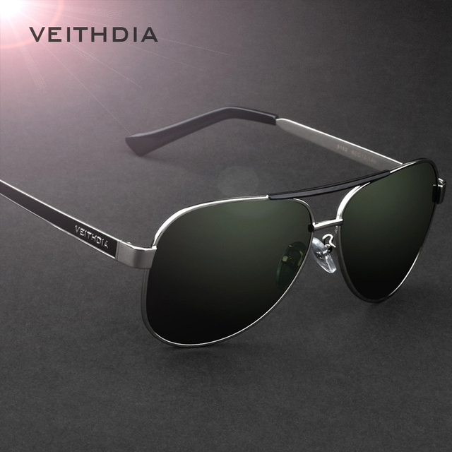 Veithdia 2017 Brand New Polarizerd Солнцезащитные Очки Мужчин Спортивного Вождения Зеркало Зеленый Линзы Старинные Очки Очки Аксессуары 3152