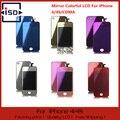 Espejo Colorido LCD Pantalla y Pantalla Táctil Digitalizador y Home botón y Parte Posterior Cubierta Color de La Mezcla Para el iphone 4G/CDMA/4S Envío gratis