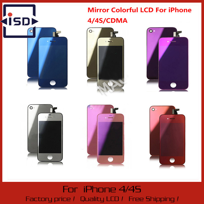 Mirror Colorful LCD Display Touch Screen Digitizer Home Button Back Cover Mix Color For iPhone 4G