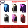 Mirror Colorful LCD Display & Touch Screen Digitizer & Home Button & Back Cover Mix Color For iPhone 4G/CDMA/4S Free Shipping