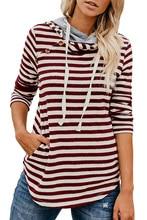 casual loose striped woman sweatshirt fashion spring 2019 long sleeve hooded pullover female sweatshirt hoodies